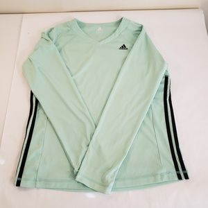 Adidas Long Sleeve Active Wear Top Large V Neck
